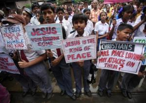Christians in India protesting